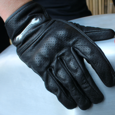 Summer gloves – black perforated & reinforced leather makes for great protection while keeping your hands cool
